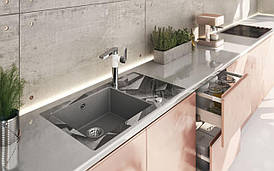 Кухонная мойка Deante CAPELLA стекло (бетонные блоки)/гранит (серый металлик) край круглый
