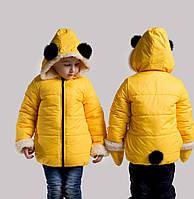 Детская зимняя куртка +варежки,с ушками и хвостиком
