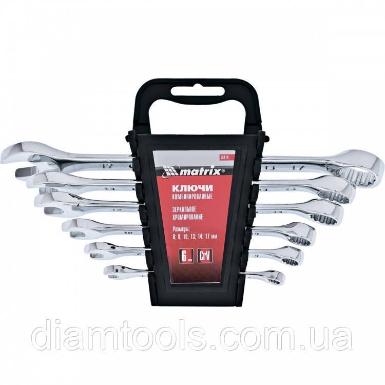 Набір ключів комбінованих, 8 - 17 мм, 6 шт., CrV, полірований хром// MTX