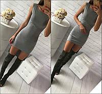 Летнее платье асимметричное (перед-короче, сзади-длиннее)  вискоза серый