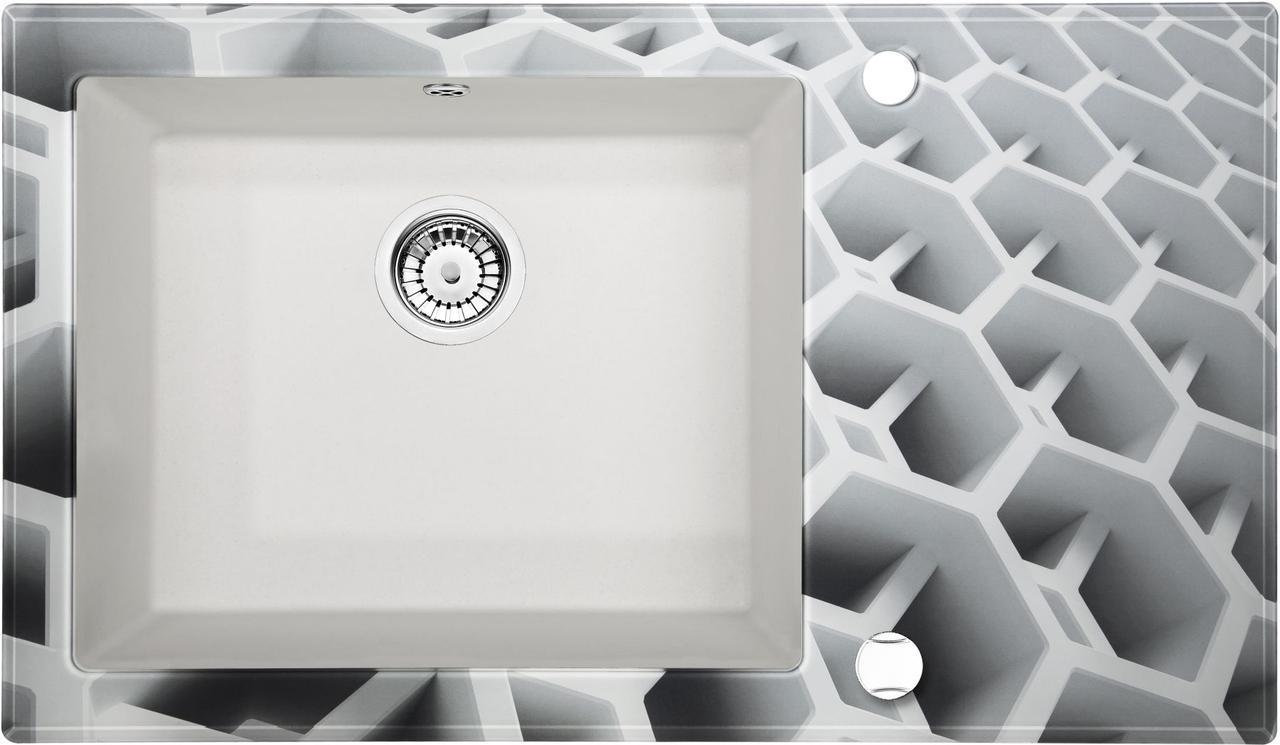 Кухонная мойка Deante CAPELLA стекло (соты)/гранит (алебастр) край круглый