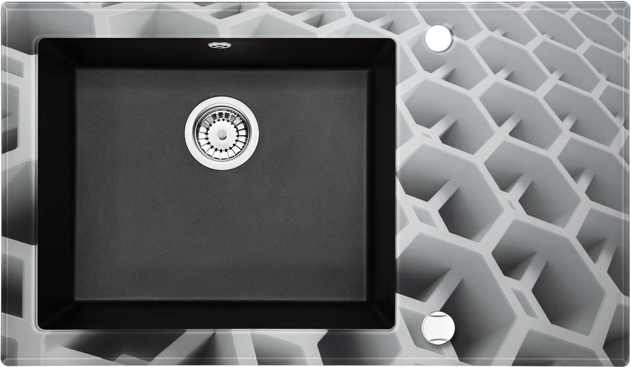 Кухонная мойка Deante CAPELLA стекло (соты)/гранит (графитовый металлик) край граненый