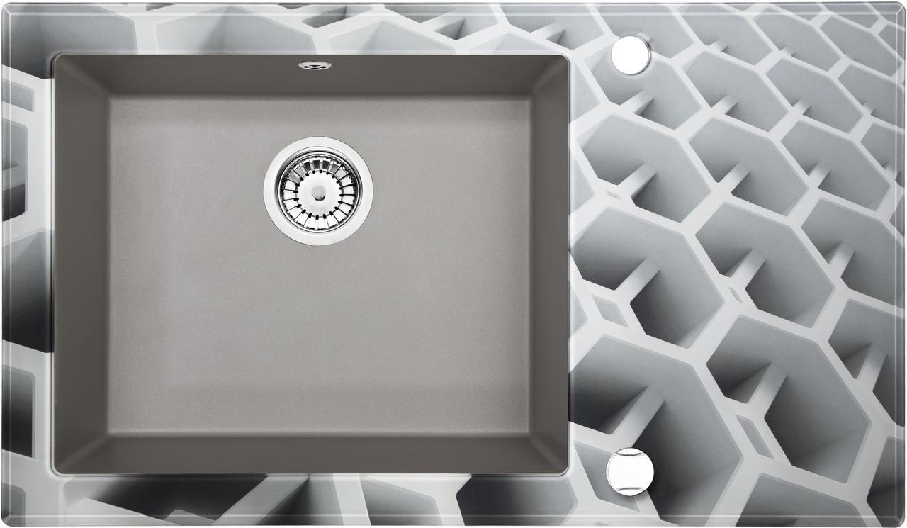 Кухонная мойка Deante CAPELLA стекло (соты)/гранит (серый металлик) край круглый