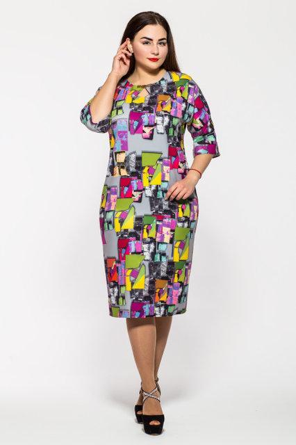 Женское женственное классическое платье Эмма пепельная размер 52,55,56 / больших размеров