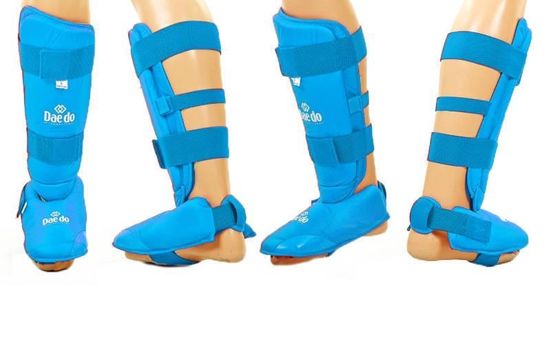 Защита голени с футами для единоборств PU DAE BO-5074-B (р-р S-XL, синий)