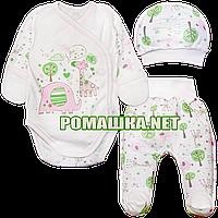 Комплект (костюмчик) на выписку р. 56 для новорожденного демисезонный ткань ИНТЕРЛОК 100% хлопок 3745 Розовый