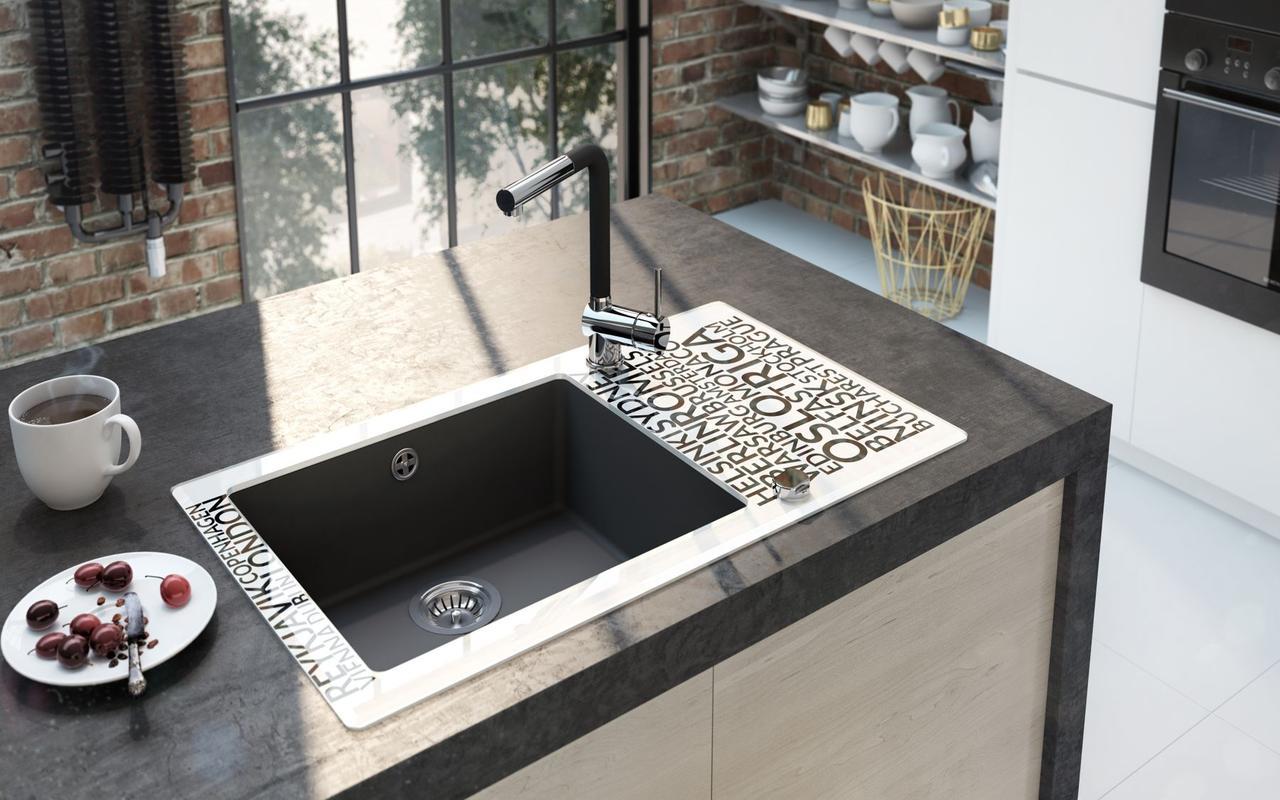 Кухонная мойка Deante CAPELLA стекло (города)/гранит (графитовый металлик) край круглый