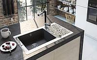 Кухонная мойка Deante CAPELLA стекло (города)/гранит (графитовый металлик) край круглый, фото 1