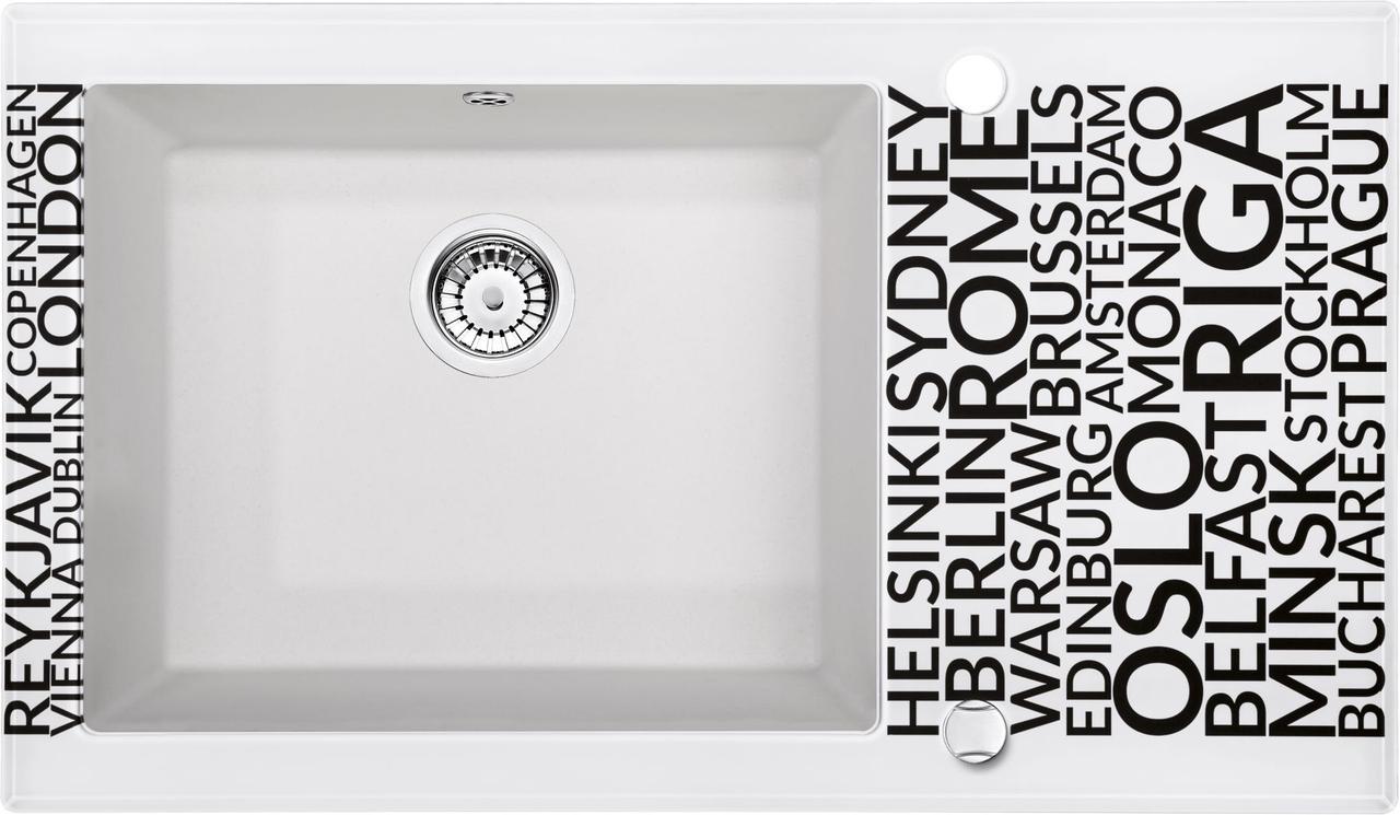 Кухонная мойка Deante CAPELLA стекло (города)/гранит (алебастр) край граненый