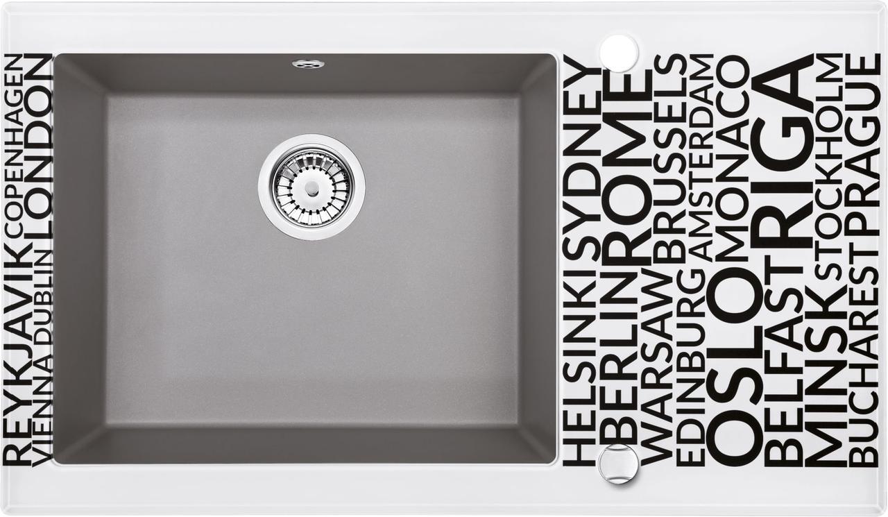 Кухонная мойка Deante CAPELLA стекло (города)/гранит (серый металлик) край граненый