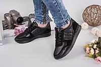 Женские Кожаные кроссовки Valentino черные