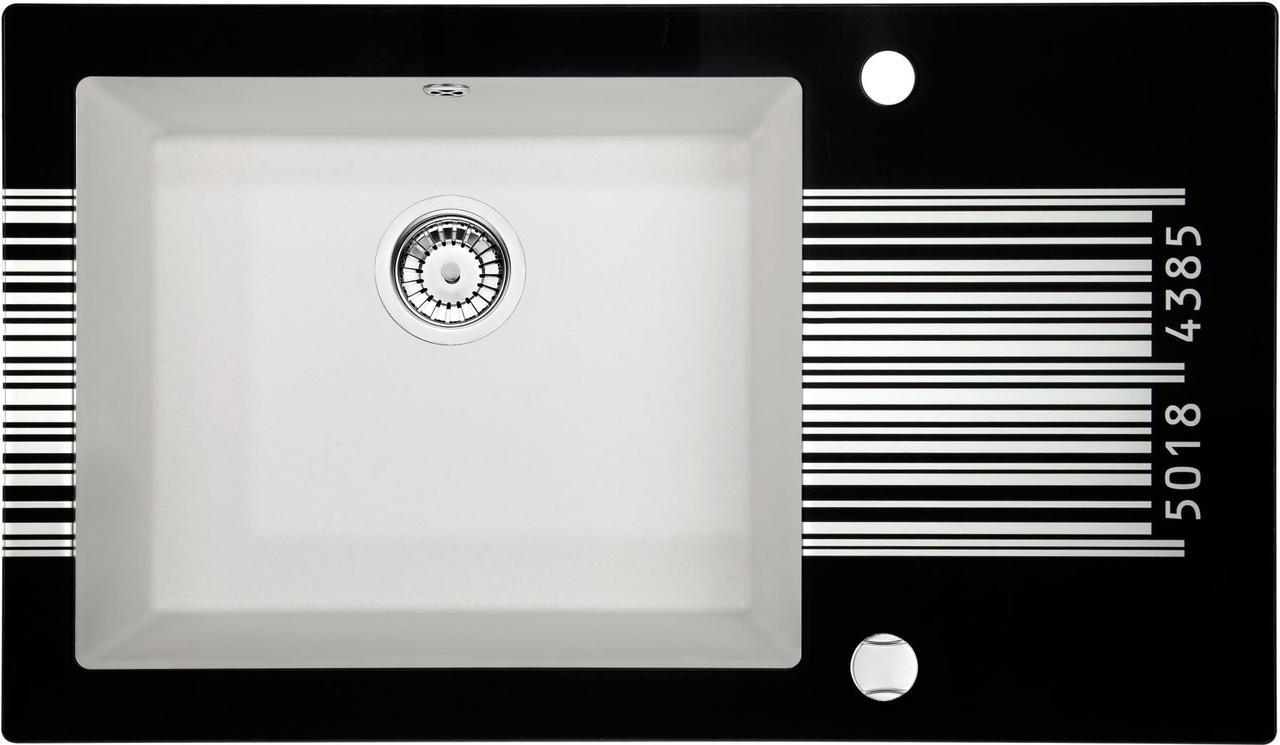 Кухонная мойка Deante CAPELLA стекло (штрихкод)/гранит (алебастр) край круглый