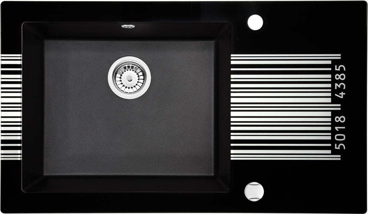Кухонная мойка Deante CAPELLA стекло (штрихкод)/гранит (графитовый металлик) край граненый