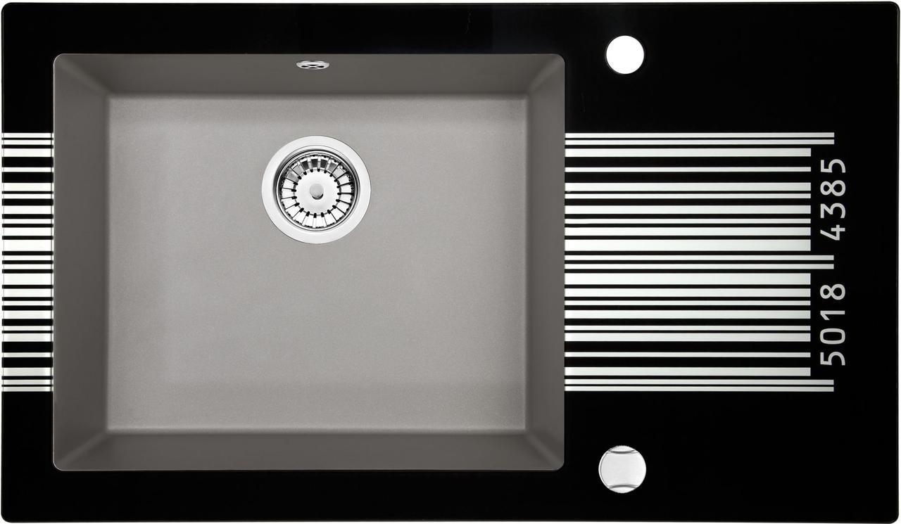 Кухонная мойка Deante CAPELLA стекло (штрихкод)/гранит (серый металлик) край граненый