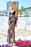 Кружевная пляжная туника Сантория черная, женские туники