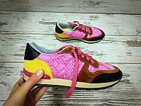 Женские Кожаные кроссовки Valentino (разные цвета) желто-розовые