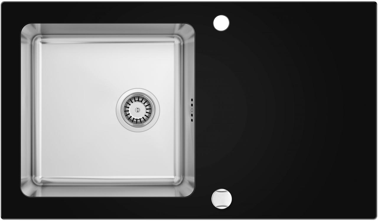 Кухонная мойка Deante PALLAS стекло (черное)/сталь, край граненый