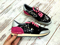Женские Кожаные кроссовки Valentino (разные цвета) черно-розовые пайетки