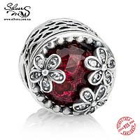 """Серебряная подвеска шарм Пандора (Pandora) """"Луг маргариток. Красный"""" для браслета бусина"""