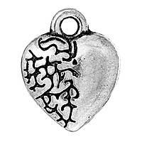 Подвеска, Цинковый сплав, Сердце, Цвет: античное серебро, 12мм x 10мм