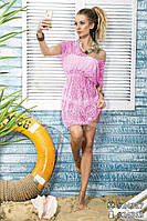 Короткая пляжная туника Дори розовая, женские туники