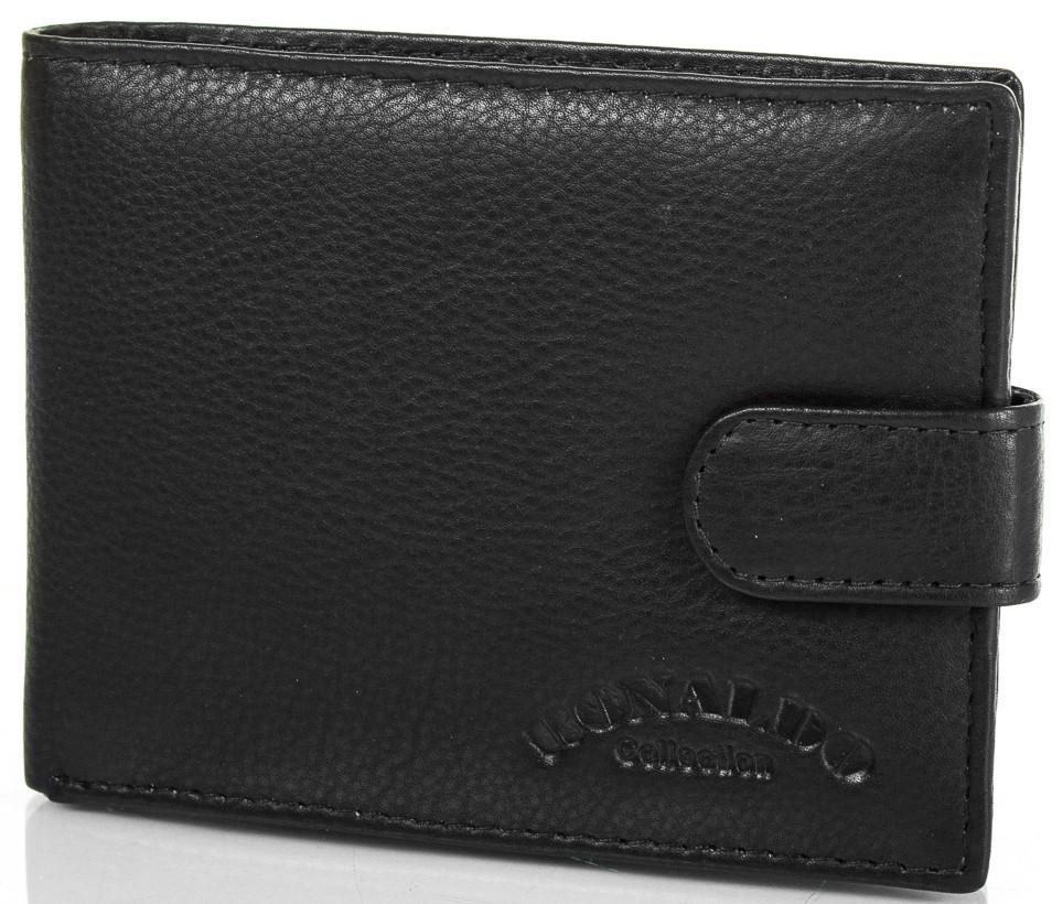 Практичный и стильный кошелек мужской кожаный RONALDO (РОНАЛЬДО) DNK0670L-D-black черный