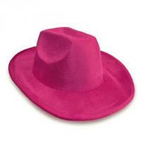 Шляпа Ковбоя велюровая розовая