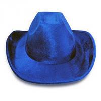 Шляпа Ковбоя велюровая синяя