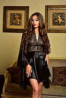 Атласный комплект халат и сорочка с красивым кружевом черный Шанталь