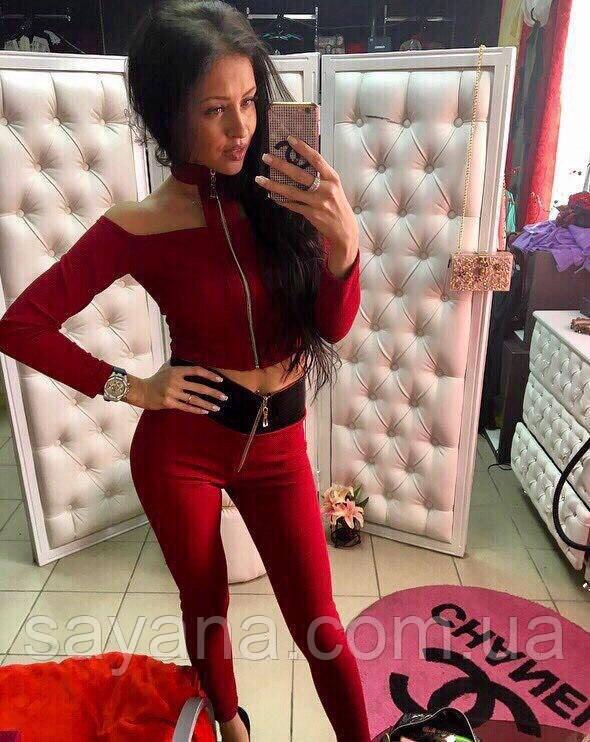 Женский стильный костюм: топ и лосины в расцветках. МД-3-0717