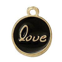 """Подвеска, Цинковый сплав, Круглая, Цвет: Золото, Черная с надписью """"LOVE"""", Резные с эмалью, 15мм x 12мм"""