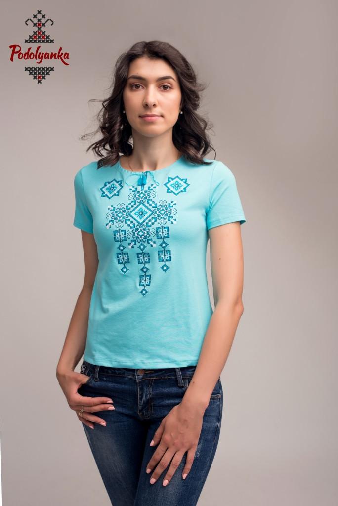 Жіноча вишита футболка Писанка бірюзова   продажа cd03d22780e09