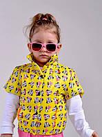 Яркая жилетка на девочку,принт микки,с карманами