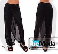 Эффектные женские шифоновые брюки с имитацией юбки черные