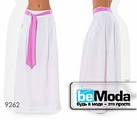 Стильная женская клешная юбка в пол с оригинальным поясом белая