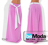 Стильная женская клешная юбка в пол с оригинальным поясом сиреневая