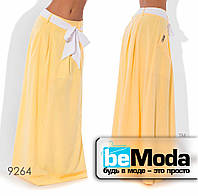 Стильная женская клешная юбка в пол с оригинальным поясом желтая