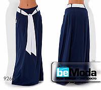 Стильная женская клешная юбка в пол с оригинальным поясом синяя