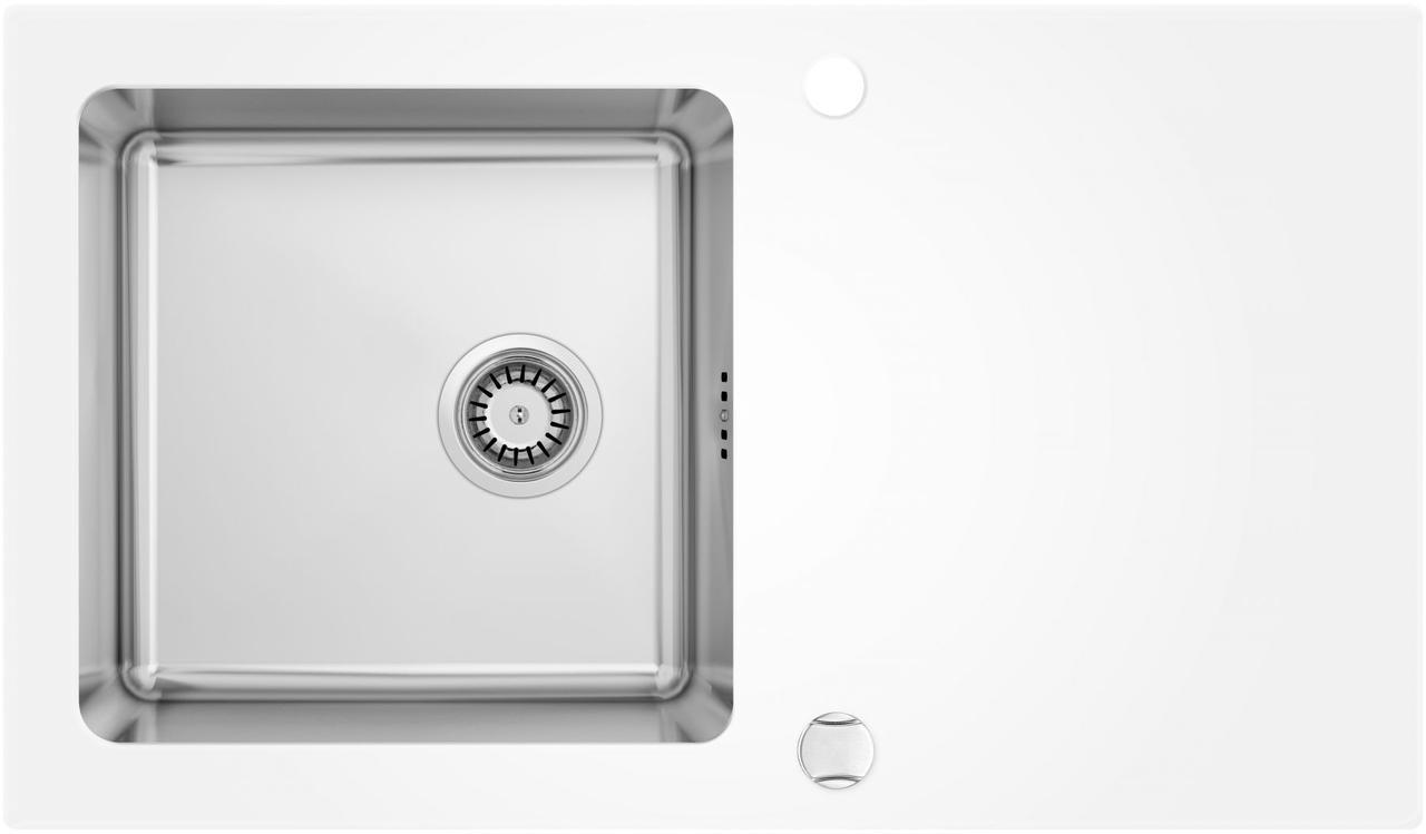 Кухонная мойка Deante PALLAS стекло (белое)/сталь, край круглый