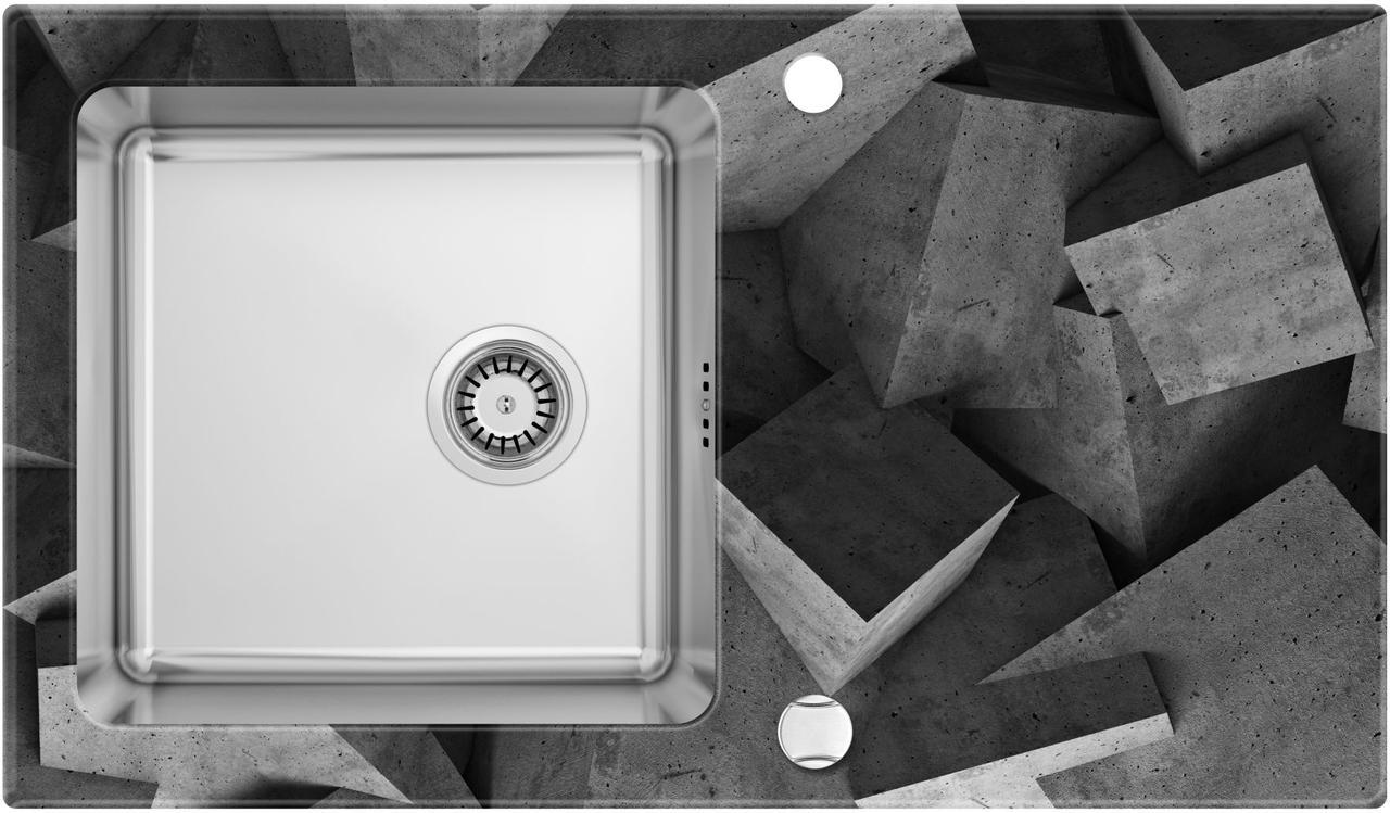 Кухонная мойка Deante PALLAS стекло (бетонные блоки)/сталь, край круглый