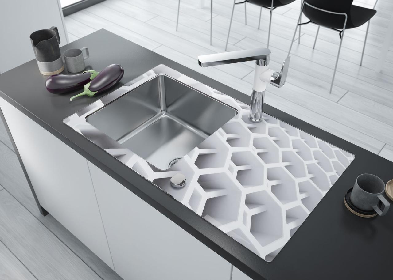 Кухонная мойка Deante PALLAS стекло (соты)/сталь, край круглый