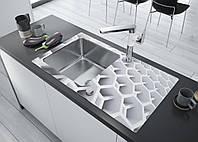 Кухонная мойка Deante PALLAS стекло (соты)/сталь, край круглый, фото 1
