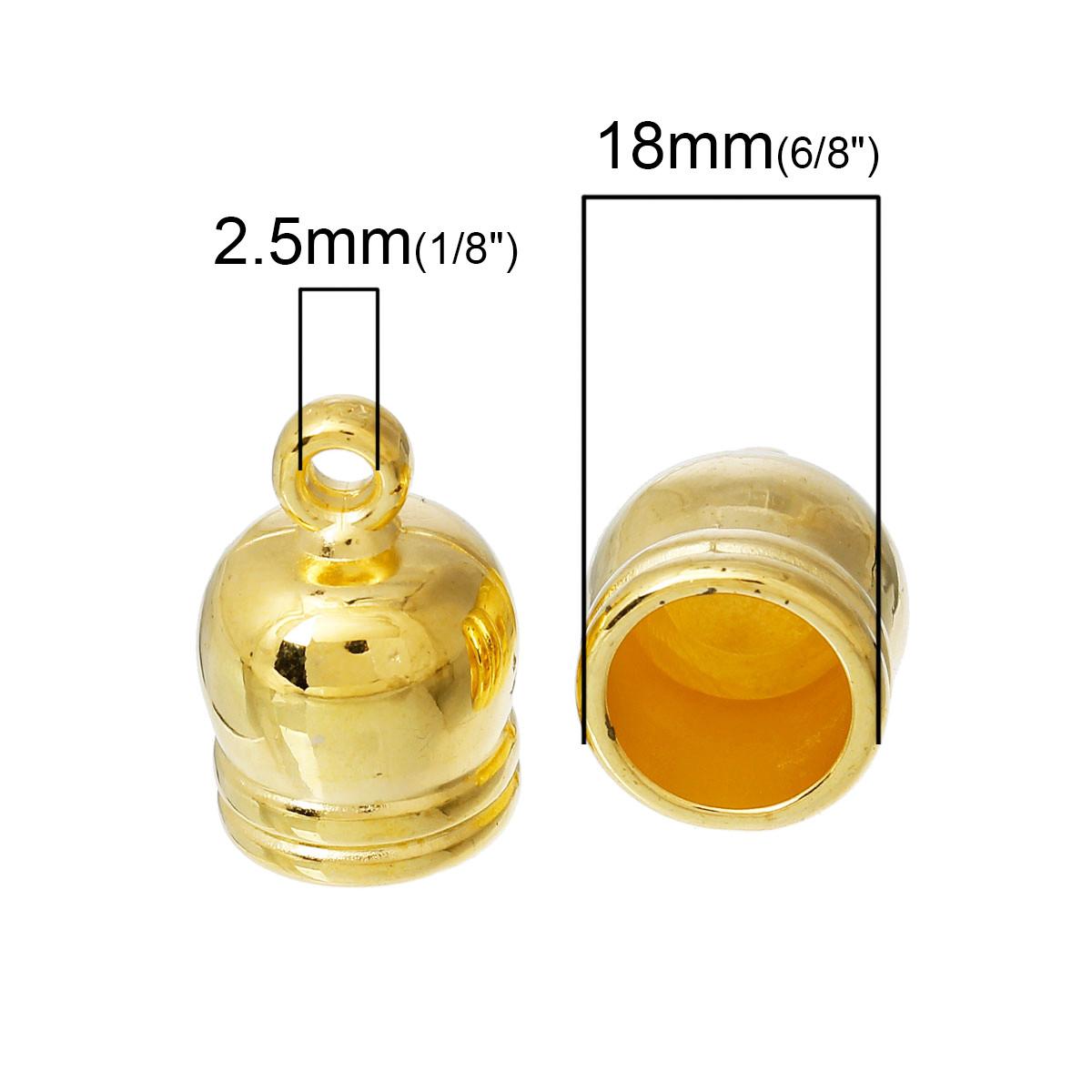 """Зажим-концевик, Бочка, Цвет: золото 18.0мм x 12.0мм, для шнура 9.0mm - Интернет-маркет """"Прикраса"""" в Черкасской области"""