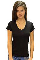 Черная футболка женская спортивная летняя с коротким рукавом без рисунка хлопок трикотажная (Украина)