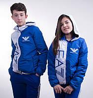 "Стильная куртка "" Armani"", унисекс,белый+синий"
