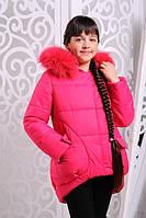 Куртка зимняя для девочки короткая  на молнии с капюшоном натуральный мех малина