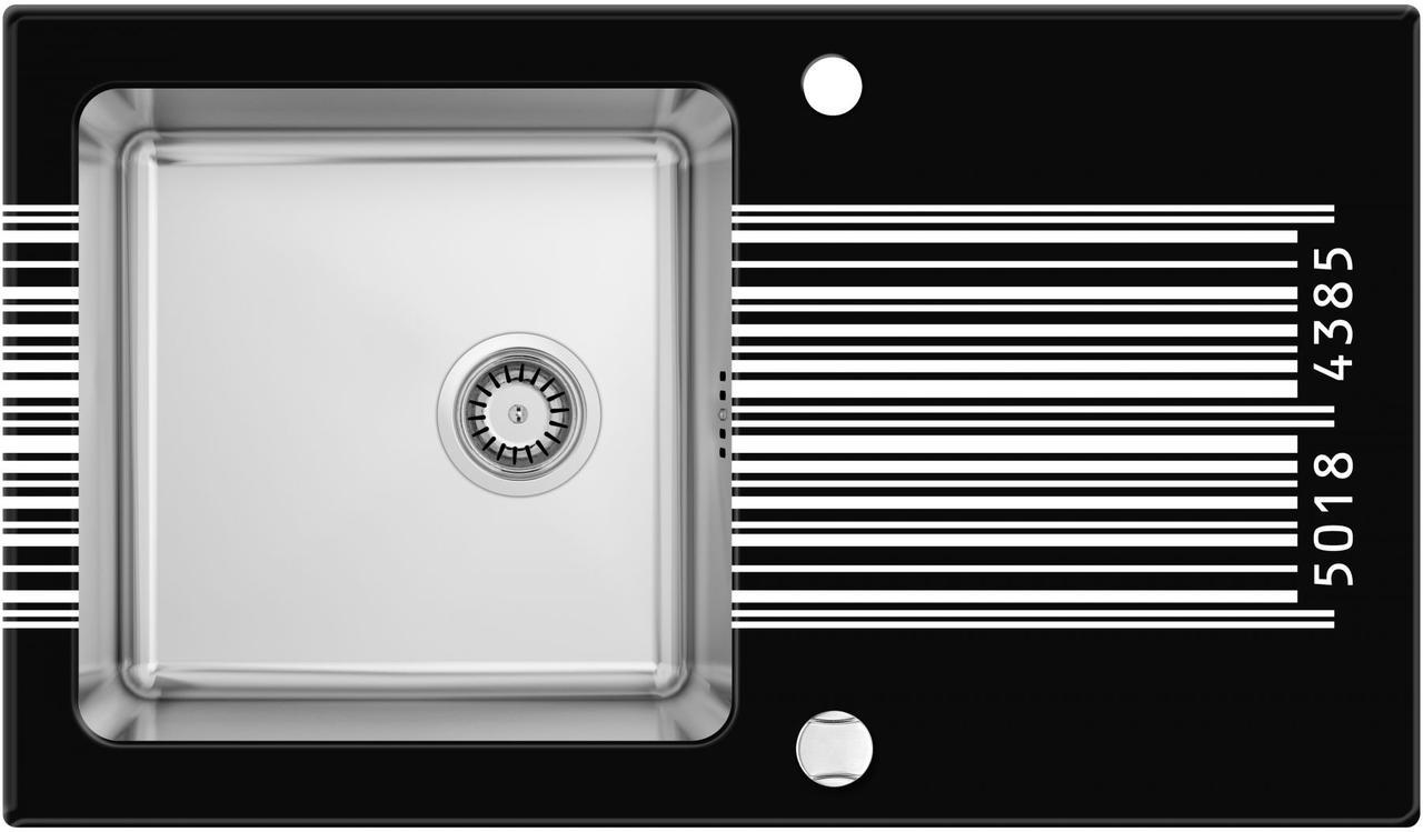 Кухонная мойка Deante PALLAS стекло (штрихкод)/сталь, край граненый