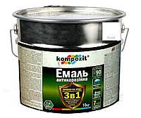 """Эмаль-грунт акриловая KOMPOZIT """"3 в 1"""" антикоррозионная белая, 10кг"""