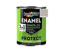 """Эмаль-грунт акриловая KOMPOZIT """"3 в 1 PROTECT"""" для металла и оцинковки серебристая 0,65кг"""