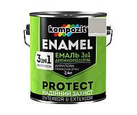 """Эмаль-грунт акриловая KOMPOZIT """"3 в 1"""" антикоррозионная серебристая, 2,4кг"""